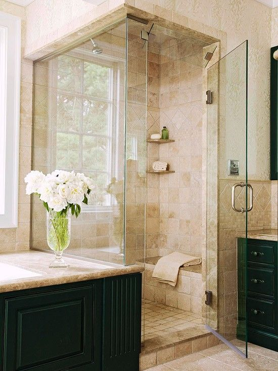 I like the dark cabinets with this tile choice.  I would recommend a painted wall for our bathroom, rather than wallpaper.