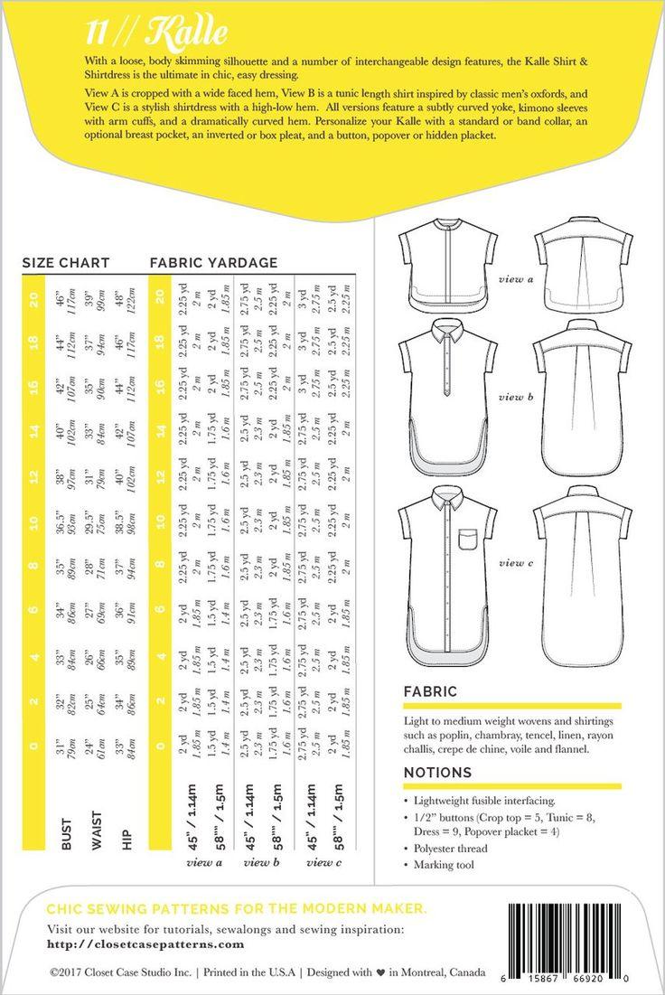 Modern dressmaker buttons - Kalle Shirt Shirtdress Pattern