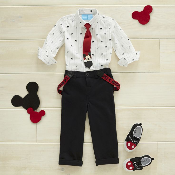 Dress baby like a little gentleman with a nod to everyone's favorite mouse. Shirt and tie set sold separately from the black pant with red/black Mickey suspenders set in 0-3 months. The pants feature a soft elastic waist. The comfortable hard sole Mickey Mouse sneakers with touch closure are available in sizes 4-10. Featuring your little guy's favorite mouse, these sneakers have a stylish touch and are the perfect addition to any outfit.