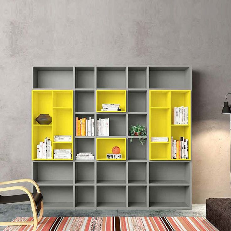 Contemporary free standing book library 'Grey' by Morassutti