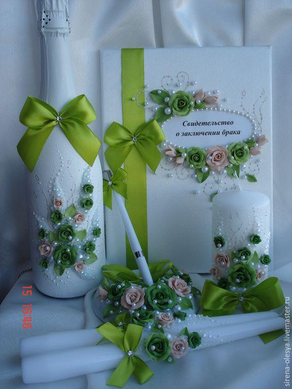 """Купить Свадебный комплект """"Феерия"""" в кремово-зелёной гамме - зеленый, свадебные аксессуары, свадебные бокалы"""