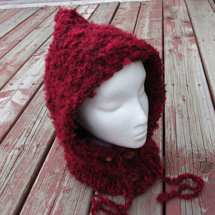 Red hooded cowl, Women hooded cowl, Hooded neck warmer, Teens hooded cowl, Christmas hooded cowl, Winter hat by FineBubbles on Etsy