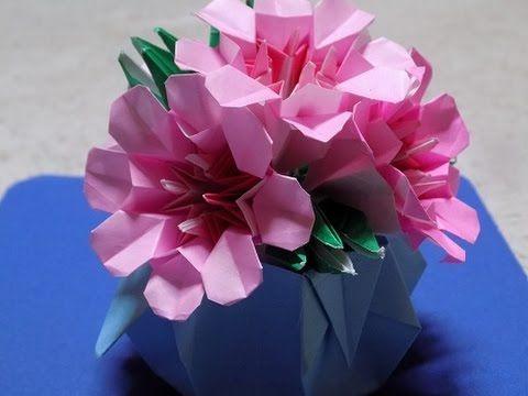 花の折り紙  桜(八重桜)のポットorigami sakura 折り方 作り方 1回目花冠 - YouTube