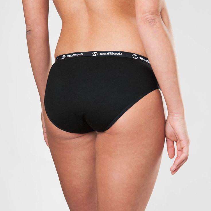 Modibodi Active Air Brief Underwear in Black with Black and White Logo Trim