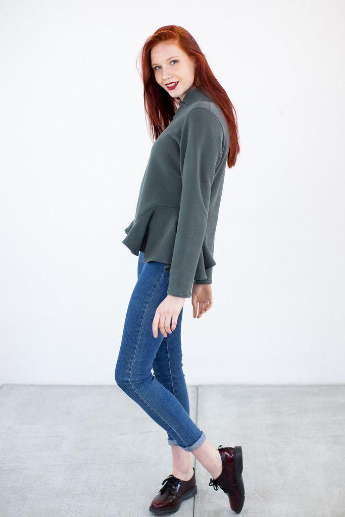 Sweatshirt Frills Gray Green