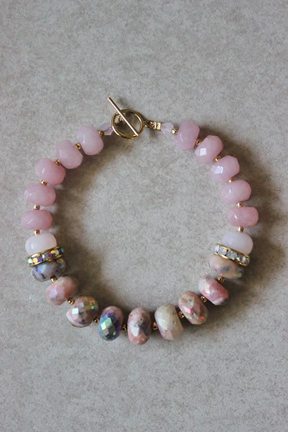This is my newest spring stone bracelet. I accented the strand with gold Indian glass beads, and a delicate but strong14k gold-filled clasp.