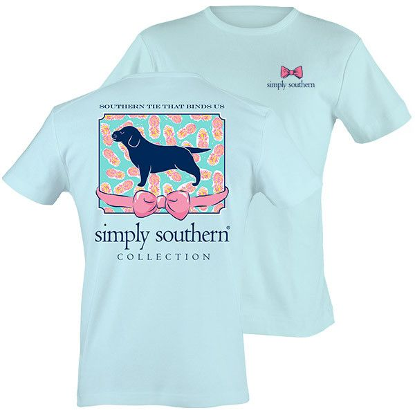 Simply Southern Preppy Puppy Bow Bright T-Shirt Available in sizes- S,M,L,XL,2X