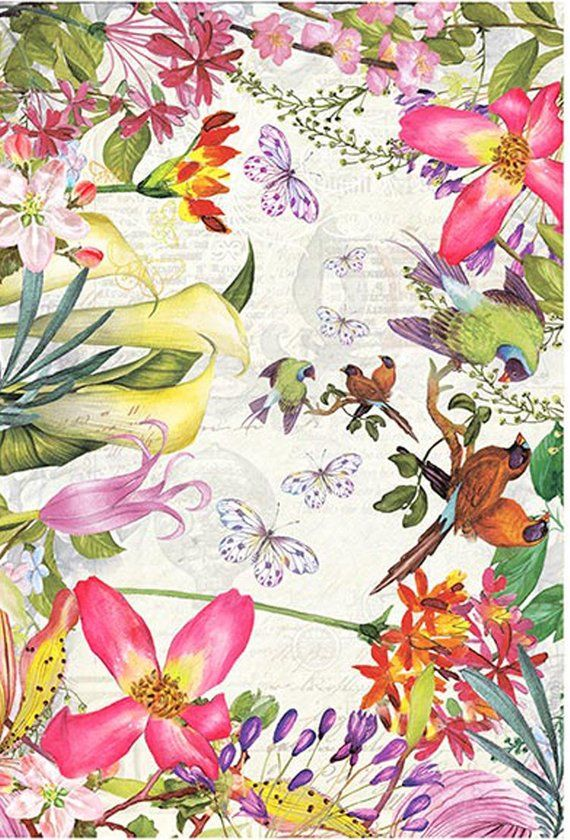 20 x Single Paper Napkins Violet Flowers for Party Lunch and Table a4
