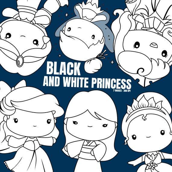 Princess Clipart Fantasy Clip Art Black And White Free Etsy Clip Art Art Cute Clipart