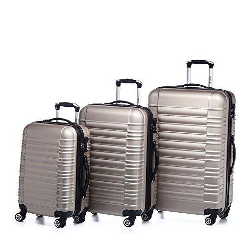BEIBYE Koffer Set (LG2088, 3tlg. Reisekoffer Set, XL/76cm, L/66cm, M/54cm in 10 Farben, Gold)