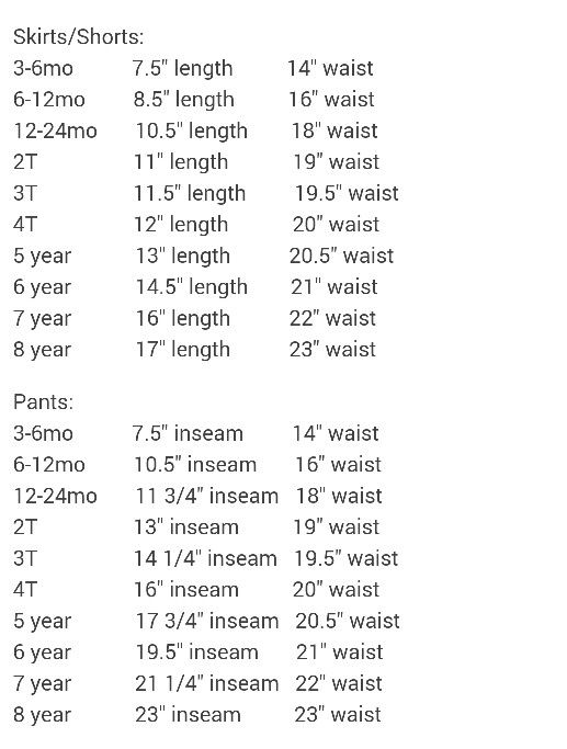 Toddler Finished Skirt Size Chart