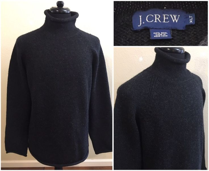J Crew Mens Wool Sweater Size XLT Black Roll Neck Pull Over Turtleneck  XL Tall #JCREW #Turtleneck