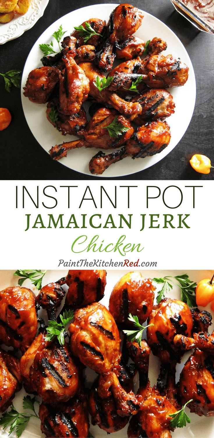 Instant Pot Jamaican Jerk ChickenThis Instant Pot Jamaican Jerk Chicken recipe features succulent bone-in chicken with boldly spiced island flavors, beautifully finished on the grill from Paint the Kitchen Red
