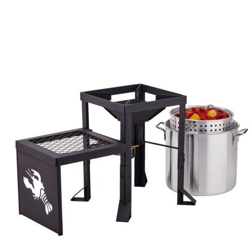 The Outdoor Gourmet™ Double-Burner Propane Fryer and Boiler with Side Table features a heavy-duty steel stand and a built-in thermometer.