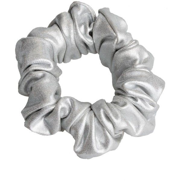 Ruth silver scrunchie by Vintage (7.01 CAD) ❤ liked on Polyvore featuring accessories, hair accessories, scrunchie hair accessories, retro hair accessories, vintage hair accessories and silver hair accessories