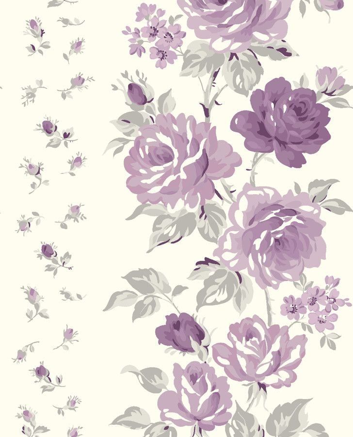 Purple Floral Curtain Fabric | Clarissa Amethyst Fabric