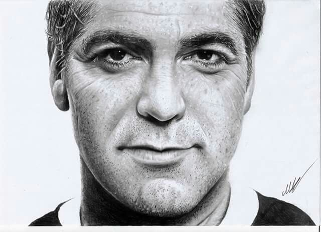 George clooney hyperrealistic pencil drawing