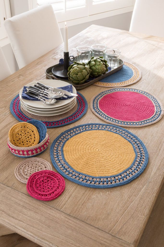 Sun Flare Table Set In Sinfonia Design Part Of Annies Spring Collection 2019 Crochet Placemats Crochet Placemat Patterns Washcloth Pattern