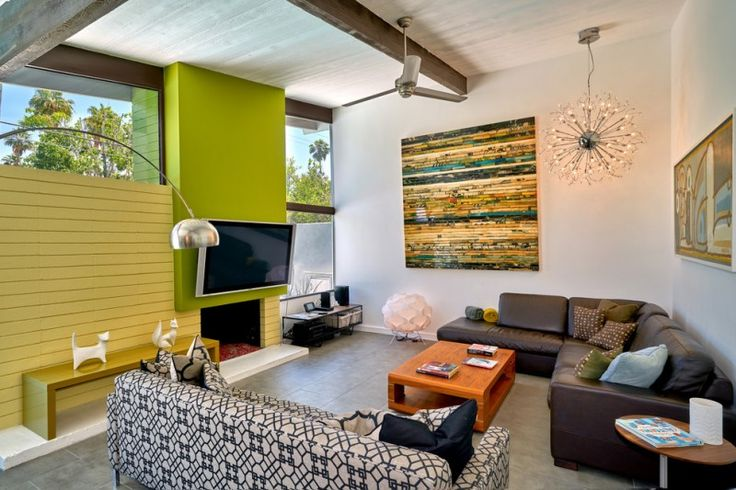 living room with white painted wall, yellow wooden wall and green plank, brown leather sofa, geometrical lines sofa, wooden coffee table of Amazing and Comfortable Mid Century Living Room