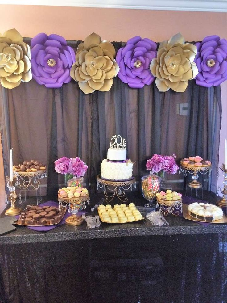 Gold purple and black birthday party ideas birthdays for Art decoration fr
