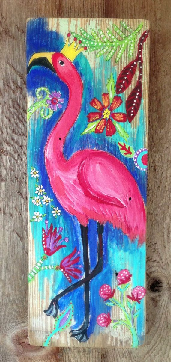 Pink+Flamingo+on+Reclaimed+Wood+by+evesjulia12+on+Etsy,+$58.00