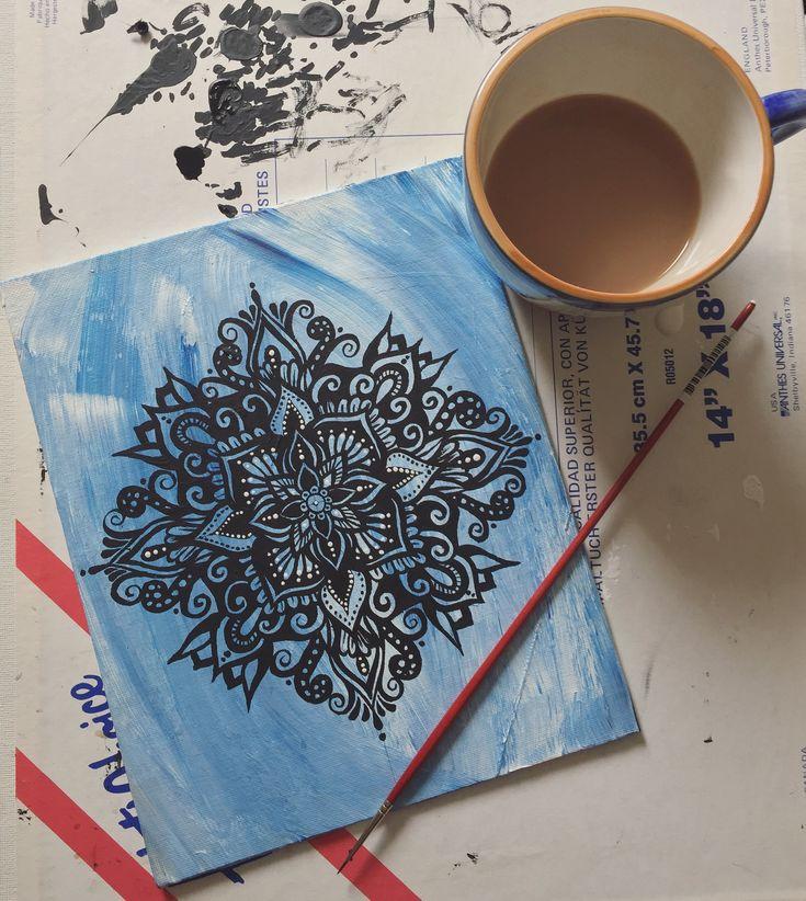 Beautiful mandala painting in progress by @samschroederart | INSTAGRAM: samschroeds