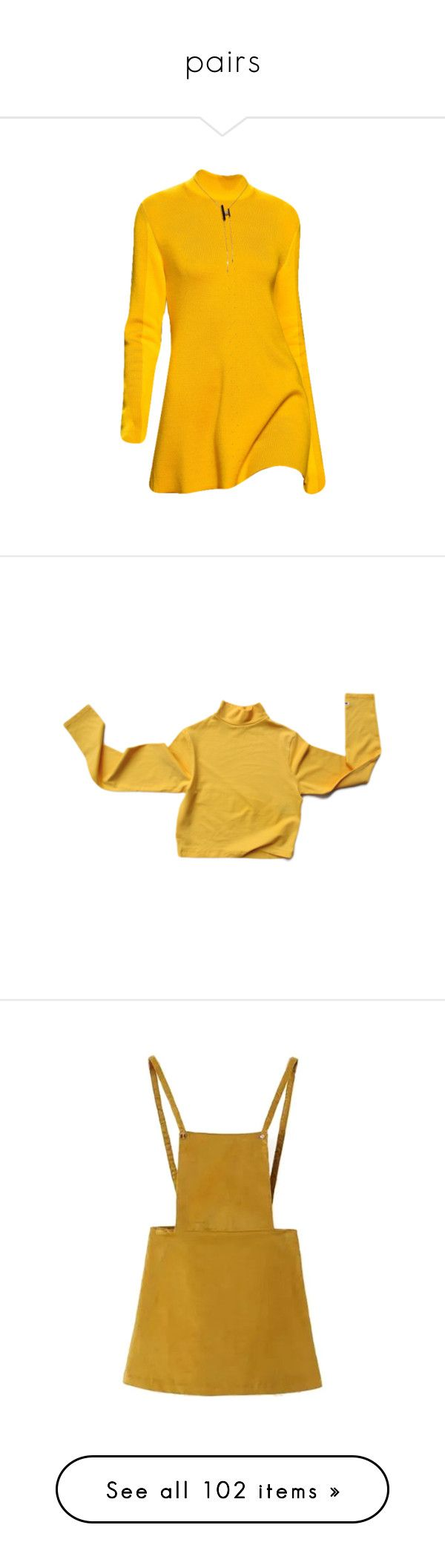 """""""pairs"""" by rojinnn ❤ liked on Polyvore featuring dresses, yellow, yellow dress, tops, shirts, sweaters, long sleeves, yellow long sleeve top, extra long sleeve shirts and brown shirt"""