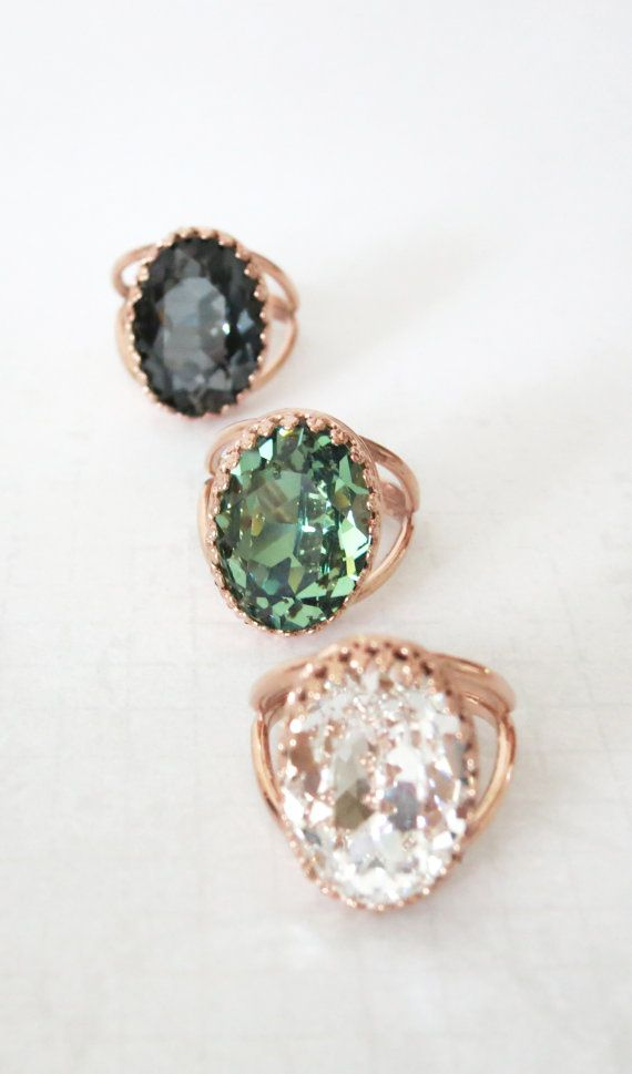 Rose Gold Swarovski Crystal Cocktail Ring - Crystal Clear Oval Crystal Rose Gold Adjustable Ring, simple, sparkly, chic, elegant fashion, by ColorMeMissy, www.colormemissy.com