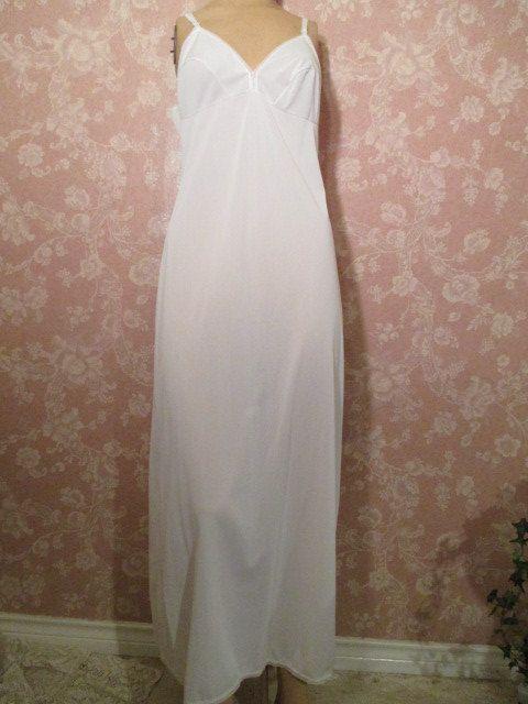 Vintage White Full slip Long Floor Length Lorraine by