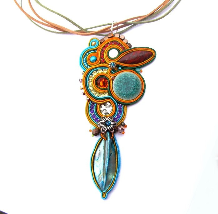 Colorful Soutache Necklace Pendant Turquoise Green Colorfull Gems Charm Glamour Chic Multicolor Beads Zircons Shell Leather Toho. $129.00, via Etsy.