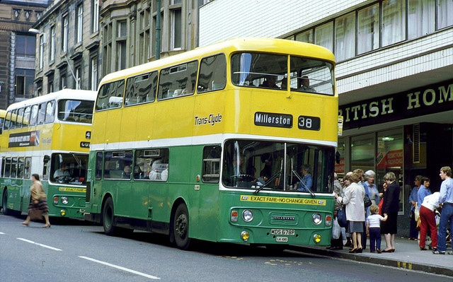 A Glasgow Bus service which still exists today with the core route more or less the same.  At the time of the photo was taken the 38 ran from Millerston to Rouken Glen (38) or Clarkston (38A) with buses running out of Gartcraig and Newlands Depots.  Today the 38, (A,B) run from Easterhouse to Newton Mearns, Eastwood Toll or Woodfarm and buses run out of Larkfield Depot.