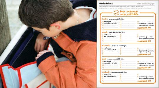 Affaires de gym, livres de bibliothèque, carnet de correspondance, carnet de vocabulaire, affaires de piscine… Complétez l'affichette suivant l'emploi du temps de votre enfant, qui cochera chaque jour sa « check-list » pour ne rien oublier !