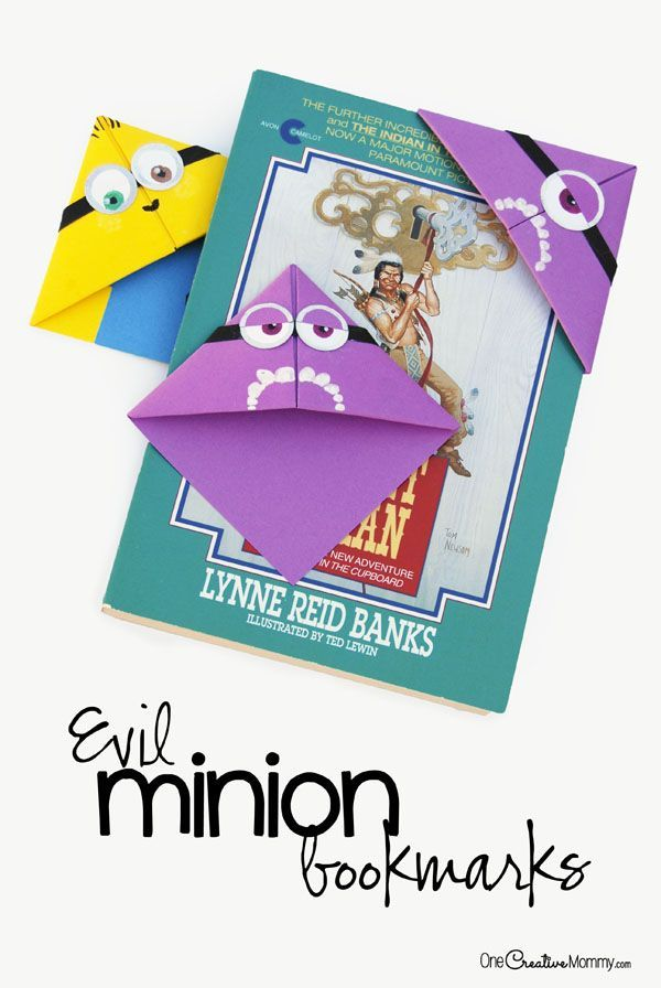 Quick and Easy Minion Bookmark Kids Craft|Perfect for a Minion Birthday Party! Have you ever seen these origami bookmarks? They're so easy and fun to use.