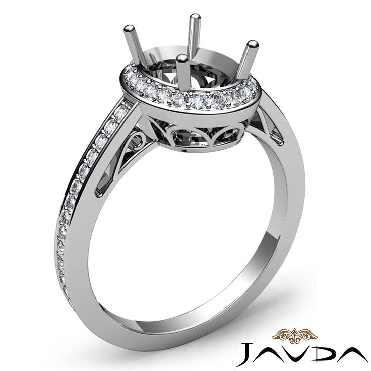 Diamond Engagement Filigree Ring Oval Semi Mount Halo Pave 14k White Gold 0 5ct | eBay
