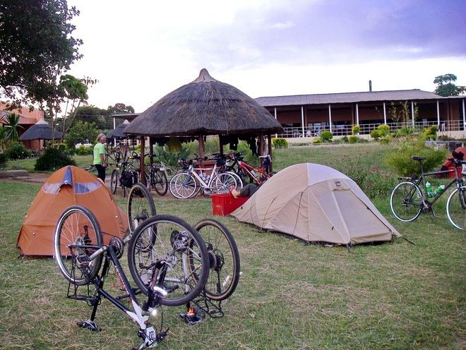 Camping in Zambia while biking as part of the Tour D'Afrique