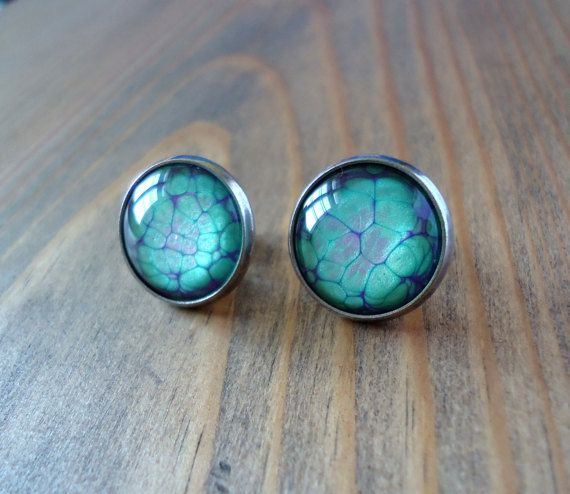 Green purple red stud earrings, hand painted studs, minimalistic earrings, glass dome paint earrings, modern studs, cabochon pebeo jewerly