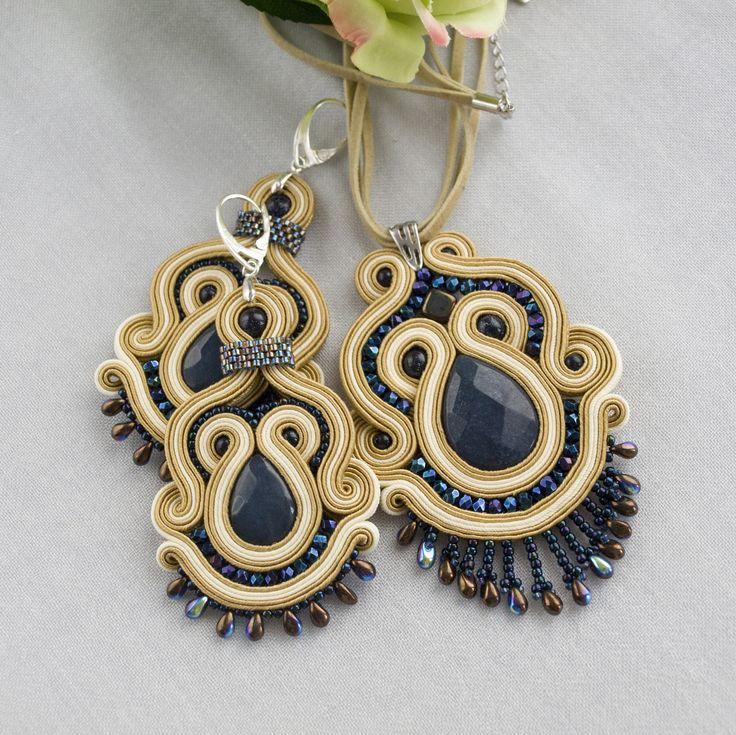 soutache set with jade, soutache necklace, soutache earrings