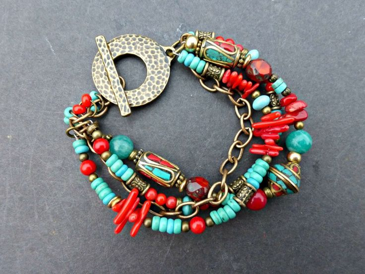 Multi strand bracelet. Czech Picasso glass, brass, Tibetan beads and stone.