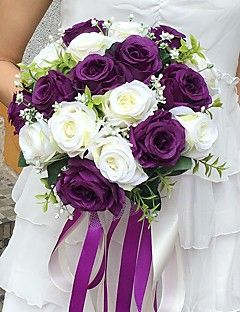 """Wedding+Flowers+Round+Roses+Bouquets+Wedding+Party/+Evening+Satin+11.02""""(Approx.28cm)+–+USD+$+39.98"""