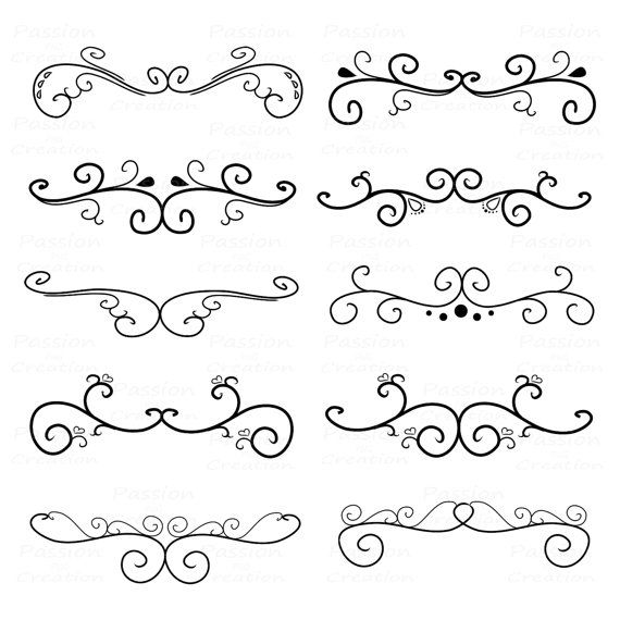 Flourish Swirls, Border Calligraphy, Decorative Embellishment, Personal and Commercial Use