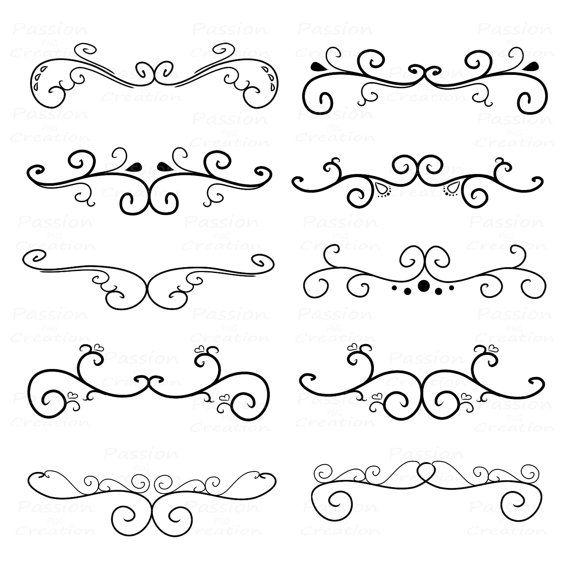 Calligraphy Swirl Border Flourish swirls, border