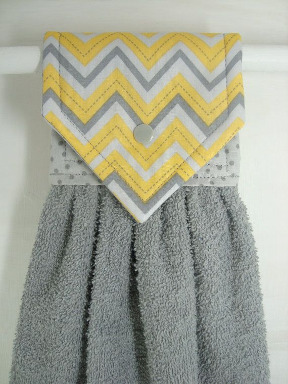 Chevron Hanging Hand Towel Gray Yellow by MarlenesSewingRoom