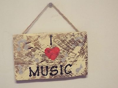 PRIMITIVE WOOD PALLET I HEART MUSIC SIGN.RUSTIC.HANGS