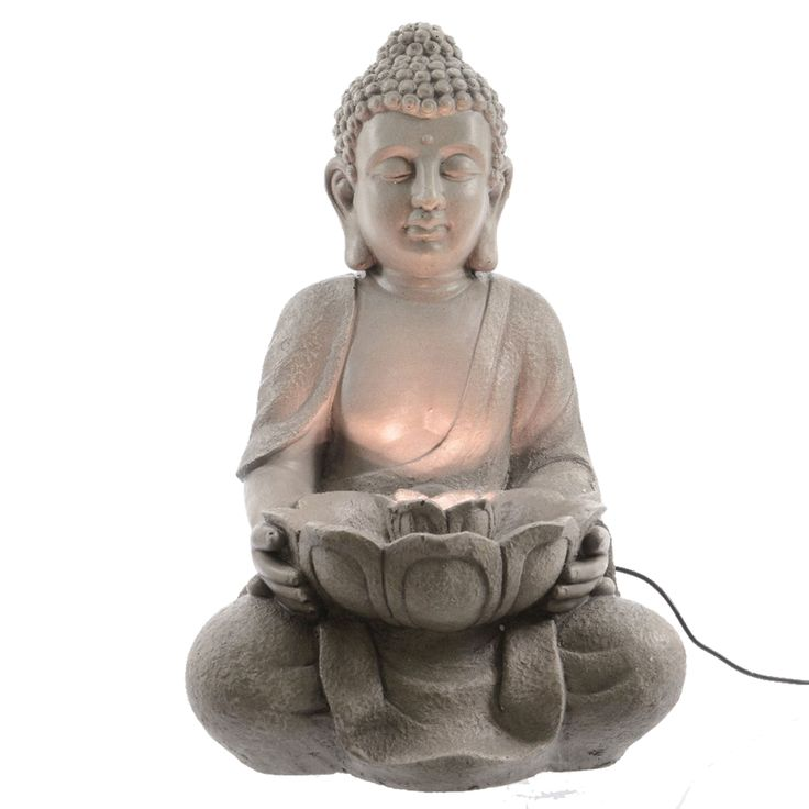 Der Buddha-Brunnen mit LED-Beleuchtung ist auch für den Außenbereich geeignet.