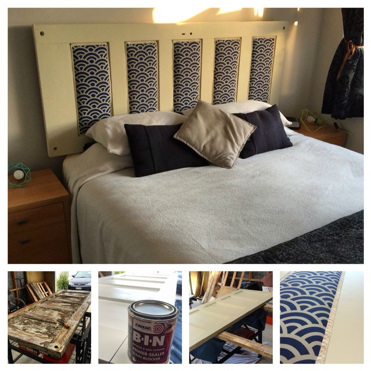 We turned an old #rimu door into an upholstered headboard - #upcycle #DIY