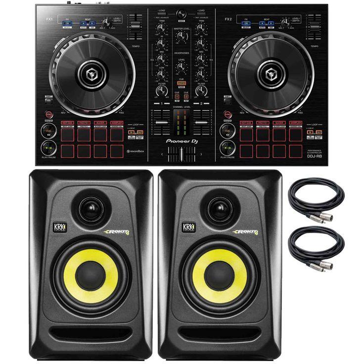 Pioneer DDJ-RB Rekordbox DJ Controller with KRK Rokit RP4G3 4 Active Monitors