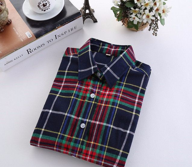 Western Style Blue Green Tartan Women's Plaid Shirt