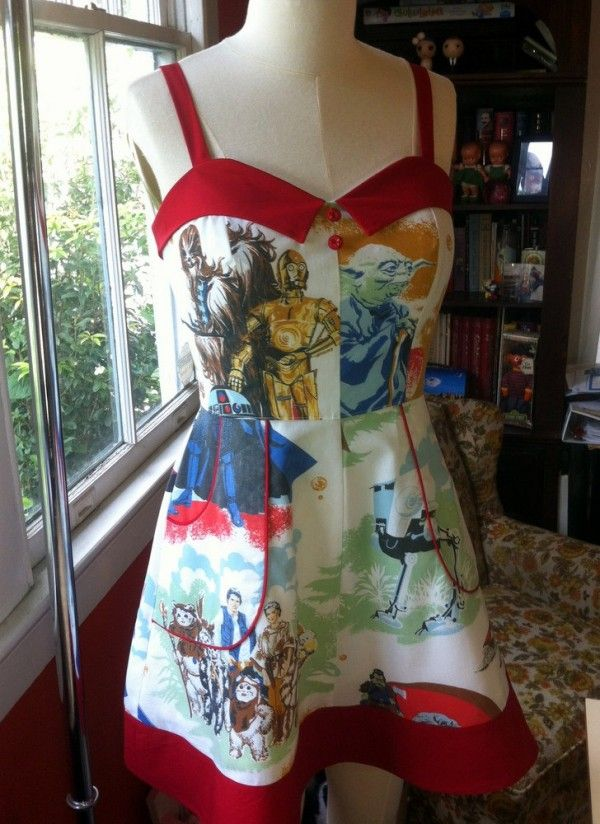 Star Wars Dress.  Oh the possibilities with other bed sheet characters...Care Bears anyone?