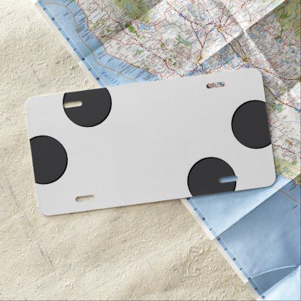 Checkered DarkGrey Dots License Plate - black and white gifts unique special b&w style
