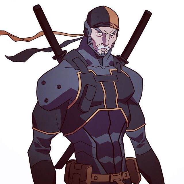Instagram media by philbourassa - Close up on Deathstroke with his mask up #Deathstroke #dccomics #dcentertainment #villains #characterdesign #modelsheet #wbanimation